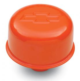 Proform Valve Cover Breather Cap Steel Push In Chevy Orange With Bowtie Emblem