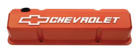 Proform Alloy Valve Covers Slant-Edge In Chey Orange Finish With Raised Chevrolet Emblem