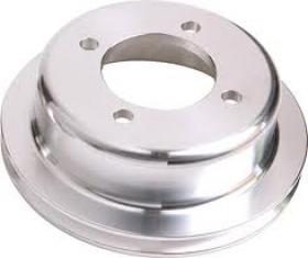 Ford Cleveland Billet Crank Pulley Single Groove Suit Ford 4 Bolt Damper Black & Silver