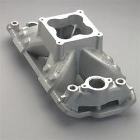 Edelbrock Super Victor Intake Manifold, Single Plane, Aluminum, Natural, Dominator, Raised Port, Chevy Small Block