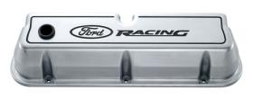 Proform Alloy Valve Covers Polished With Black Ford Racing Emblems Suit 289-351W