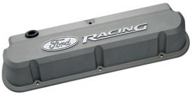 Proform Alloy Valve Covers Slant-Edge Cast Gray With Raised Ford Racing Emblems Suit 289-351W