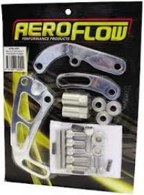 AEROFLOW Billet Power Steering Brackets.Suit S/B Chevy,Passenger Side Mid Mount P/S Pump With Long Water Pump,(Polished or Black)
