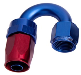 <strong>100 Series Swivel Taper 180&deg; Hose End -12AN </strong><br />Blue/Red Finish. Suit 100 & 450 Series Hose