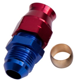 "<strong>Tube to Male AN Adapter 3/8"" to -6AN </strong><br /> Blue/Red Finish. Suits Aeroflow, Moroso & Russell Tubing"