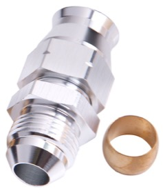 <strong>Tube to Male AN Adapter 5/8&quot; to -10AN </strong><br /> Silver Finish. Suits Aeroflow, Moroso & Russell Tubing