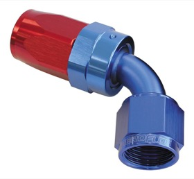 <strong>100 Series Swivel Taper 60&deg; Hose End -6AN </strong><br />Blue/Red Finish. Suit 100 & 450 Series Hose