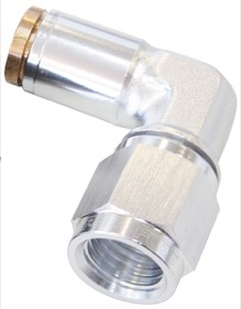 <strong>90&deg; -4AN to 1/4&quot; Nylon Quick Release Fitting</strong><br /> Silver Finish.