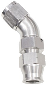 "<strong>45° Tube to Female AN Adapter 5/8"" to -10AN</strong><br />Silver Finish. Suits Aeroflow, Moroso & Russell Tubing"