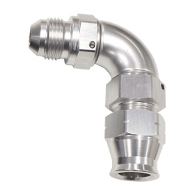 "<strong>90° Tube to Male AN Adapter 3/8""to -6AN </strong><br />Silver Finish. Suits Aeroflow, Moroso & Russell Tubing"