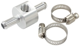 <strong>Inline 3/8&quot; Barb Adapter with 1/8&quot; Port </strong><br />Silver Finish