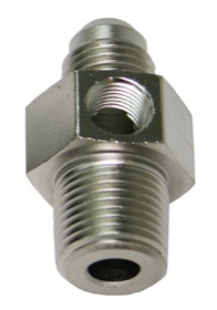 <strong>Male NPT to Adapter 1/8&quot; to -6AN with 1/8&quot; Port</strong><br /> Silver Finish