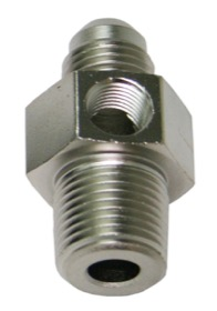 "<strong>Male NPT to Adapter 3/8"" to -6AN with 1/8"" Port</strong><br /> Silver Finish"