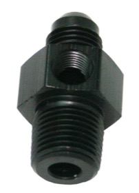 <strong>Male NPT to Adapter 1/4&quot; to -8AN with 1/8&quot; Port</strong><br /> Black Finish