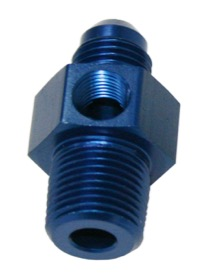 <strong>Male NPT to Adapter 3/8&quot; to -8AN with 1/8&quot; Port</strong><br /> Blue Finish