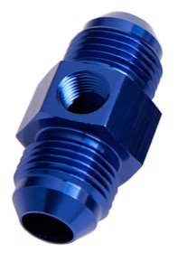 "<strong>45° Male Flare Union with 1/8"" Port -8AN</strong><br />Blue"