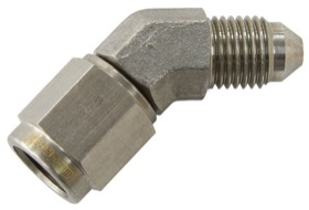 <strong>45° Female/Male Flare Swivel -3AN</strong> <br /> Stainless Steel