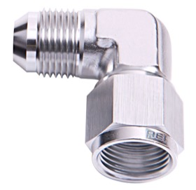 <strong>90&deg; Female/Male Flare Swivel -3AN</strong> <br /> Silver Finish