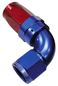 <strong>150 Series Taper One-Piece Full Flow Swivel 90&deg; Hose End -6AN</strong> <br />Blue/Red Finish. Suit 100 & 450 Series Hose