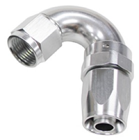 <strong>150 Series Taper One-Piece Full Flow Swivel 150° Hose End -6AN </strong><br />Silver Finish. Suit 100 & 450 Series Hose