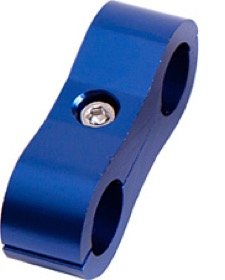 "<strong>Billet Aluminium Dual Hose Separators </strong> <br /> 1/4"" I.D., Blue Finish"
