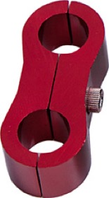 "<strong>Billet Aluminium Dual Hose Separators </strong> <br /> 7/16"" I.D.,  Red Finish"
