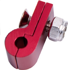 "<strong>Billet Aluminium P-Clamp 9/16"" (14.2mm) </strong><br />Suit -6 Braid & -8 PTFE Hose, Red Finish"