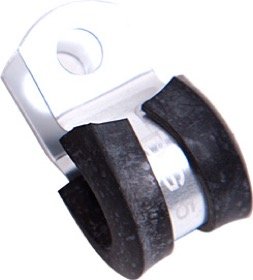 <strong>Cushioned P-Clamps 3/8&quot; (9.5mm)</strong> <br /> Suit -6 PTFE & -4 Braid hose, Silver Finish, 10 Pack