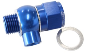 "<strong>Oil Pressure Adapter </strong><br />Suit Holden/Chevy LS series engine, 1/8"" NPT port, Blue finish"