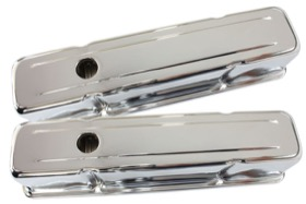 <strong>Chrome Steel Valve Covers</strong><br />Suit SB Chev Without Aeroflow Logo, Tall