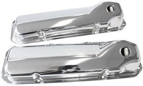 <strong>Chrome Steel Valve Covers</strong><br />Suit SB Ford 302-351 Cleveland Without Logo