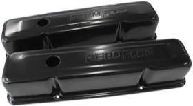 <strong>Black Steel Valve Covers</strong><br />Suit SB Chev With Aeroflow Logo, Tall