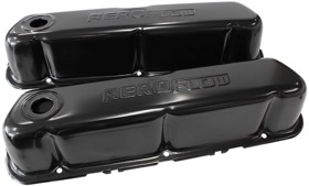 <strong>Black Steel Valve Covers</strong><br />Suit Ford 289-302-351 Windsor With Aeroflow Logo