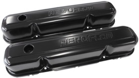 <strong>Black Steel Valve Covers</strong><br />Suit SB Chrysler 318-340-360 With Aeroflow Logo