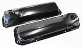 <strong>Black Steel Valve Covers</strong><br />Suit Ford 302-351 Cleveland Without Aeroflow Logo