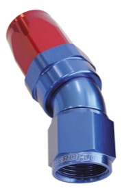 <strong>150 Series Taper One-Piece Full Flow Swivel 30&deg; Hose End -4AN</strong> <br />Blue/Red Finish. Suit 100 & 450 Series Hose