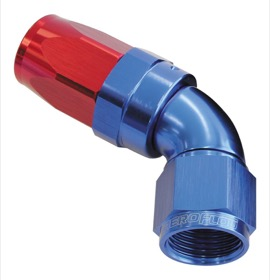 <strong>150 Series Taper One-Piece Full Flow Swivel 60° Hose End -8AN</strong> <br />Blue/Red Finish. Suit 100 & 450 Series Hose