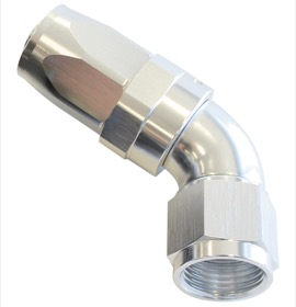 <strong>150 Series Taper One-Piece Full Flow Swivel 60° Hose End -8AN</strong> <br />Silver Finish. Suit 100 & 450 Series Hose