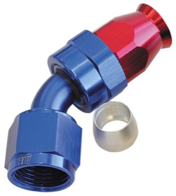 <strong>200 Series PTFE 45° Hose End -4AN</strong> <br /> Blue/Red Finish. Suit 200 Series Hose