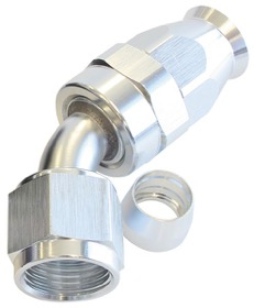 <strong>200 Series PTFE 45&deg; Hose End -8AN</strong> <br />Silver Finish. Suit 200 Series Hose