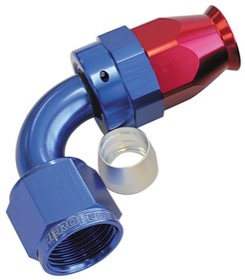 <strong>200 Series PTFE 90° Hose End -6AN</strong> <br /> Blue/Red Finish. Suit 200 Series Hose