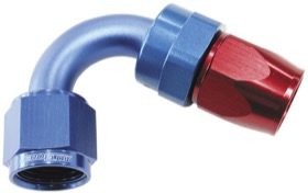 <strong>200 Series PTFE 120&deg; Hose End -3AN </strong><br /> Blue/Red Finish. Suit 200 Series Hose