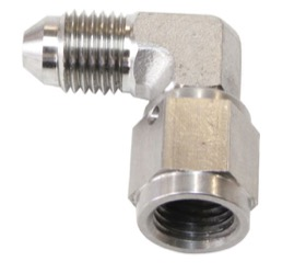 <strong>90&deg; Stainless Steel Male to Female Fitting -4AN </strong><br /> -4AN to -4 Swivel Nut