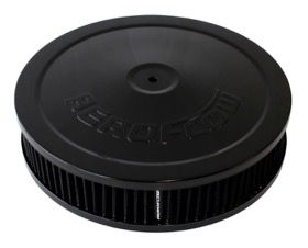 <strong>Black Air Filter Assembly</strong><br /> 9&quot; x 2&quot;, 5-1/8&quot; neck, black washable cotton element