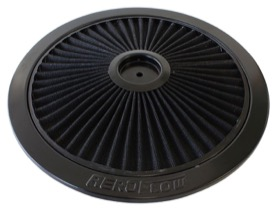 <strong>Black Full Flow Air Filter Top Plate </strong> <br />14&quot; diameter, black washable cotton element