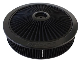 "<strong>Black Full Flow Air Filter Assembly with 1-1/8"" Drop base</strong> <br />14"" x 3"", 5-1/8"" neck, black washable cotton element"