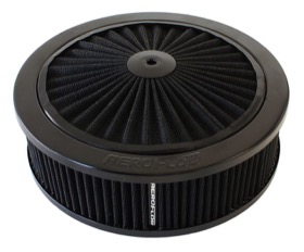 <strong>Black Full Flow Air Filter Assembly </strong> <br />9&quot; x 2-3/4&quot;, 5-1/8&quot; neck, black washable cotton element