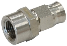 "<strong>S/S Straight Hose End</strong><br />1/8"" NPT Female To -3 Teflon Hose"