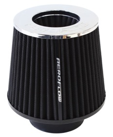 "<strong>Round Inverted Tapered Air Filter Element with Chrome Ends</strong> <br />5-1/4-6"" O.D. x 5"" high, washable cotton filter element."