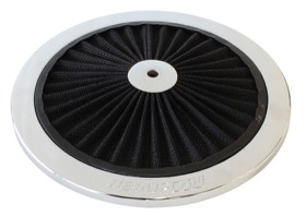 "<strong>Chrome Full Flow Air Filter Top Plate </strong> <br />9"" diameter, black washable cotton element"
